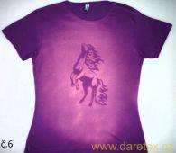 Tričko s koněm typ 6, fialové, výprodej