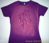 Tričko s koněm, fialové, hlava koně - L Daretex