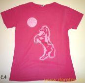 Tričko s koněm, růžové Daretex