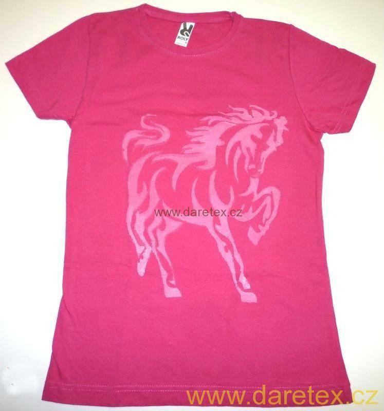 Tričko s koněm, růžové - XXL Daretex