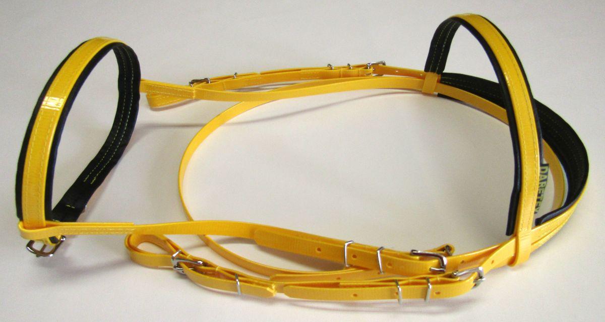 Uzdečka Anglická - pastelově žlutá Daretex